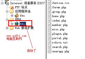 IIS网站启动成功效果图