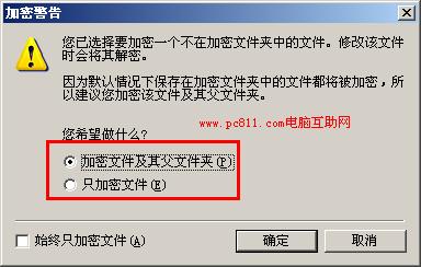 文件加密警告提示