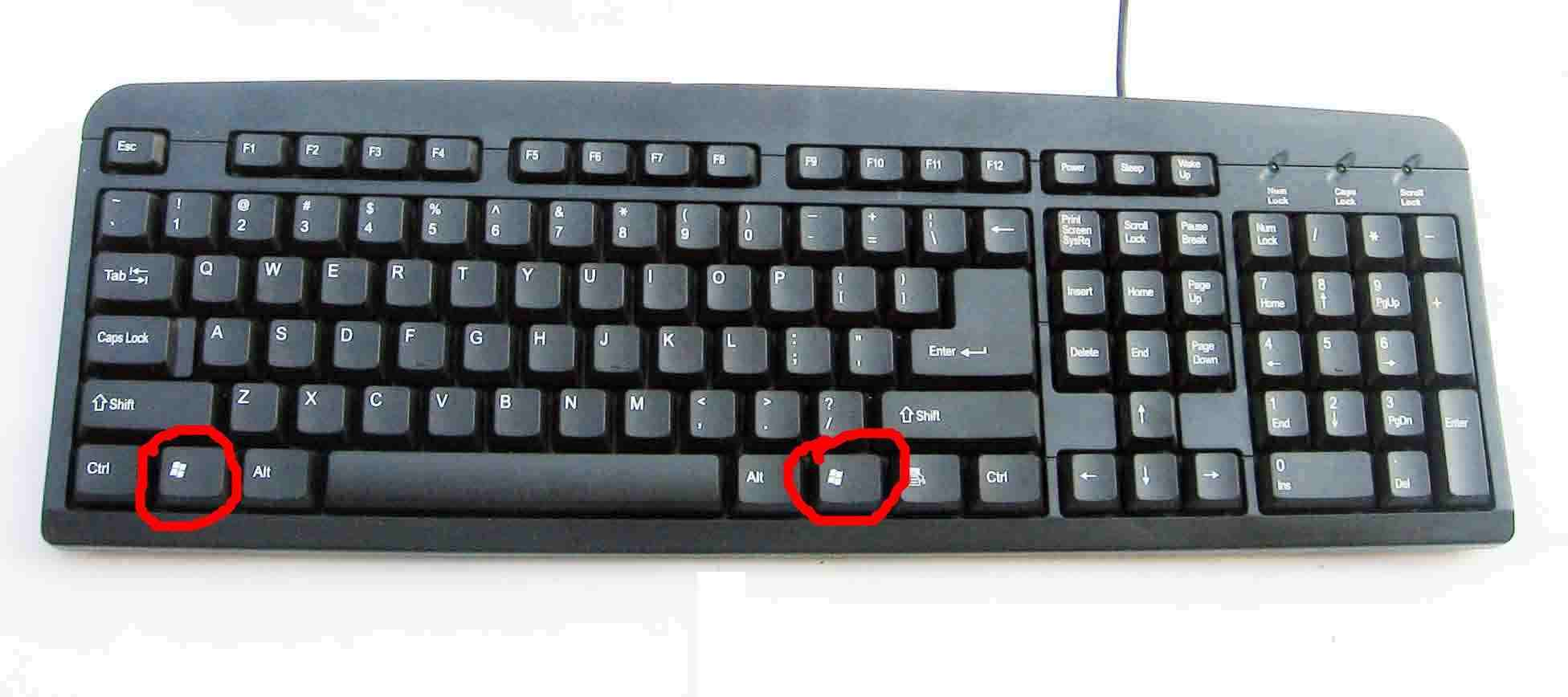 图解笔记本键盘和台式键盘中的开始键所在位置