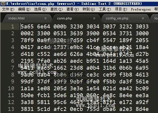 php文件源码是16进制的